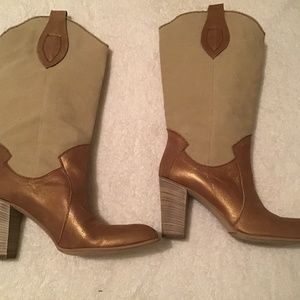 New Metallic leather and fabric boots by Browns